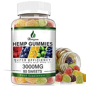 Hemp Gummies 3000mg - 80ct - 100% Organic Natural Hemp Extract ,Vegan, Non-GMO