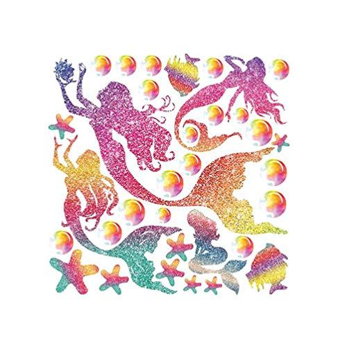 LIOOBO Meerjungfrau Wandaufkleber Cartoon Sterne und Fische Muster Vinyl Wandtattoo Abnehmbare selbstklebende Wanddekoration für Kinderzimmer 28x28cm gbw9027