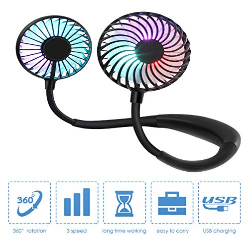 CORST Portable Neck Fan Hand Free Personal Fan Wearable USB Fan Desk Fan with LED Light, 3 Speeds, USB Rechargeable, 360 Degree Adjustment for Home Office Outdoor Travel