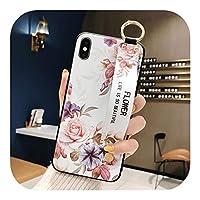 Dhfsy iPhone用ローズフラワーリストバンド電話ケース1211 pro MAX X XR XS MAX 7 8 6 6sPlus保護カバーハンドストラップ保護カバーソフトTPUリリーフ-Style 4-For iphone11Pro max