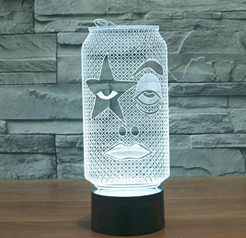 Emoji Cola Flasche 3D Lampe Led Nachtlicht Illusion Lampen 7 Farben Ändern Usb Optische Für Kinder Geburtstag Beste Geburtstag Geschenke Für Baby Kinder,Black-Touch mode