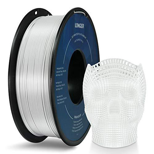 LONGER PLA Filamento per Stampante 3D 1,75mm, Precisione Dimensionale +/- 0,02 mm, Nessun Groviglio, Ecologico, Tuta Ampiamente Compatibile per Stampante 3D FDM (1000g, Bianca)