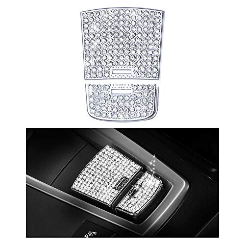 1797 Compatible Handbrake Caps for BMW Accessories Parts Button Parking Covers Decal Bling Interior Decorations 5 6 7 Series X3 X4 X5 X6 G31 F13 G12 G01 F15 F16 F26 iDrive AWD Women Men Crystal Silver