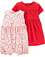 Carter's Baby Girls 2-Piece Dress & Romper Set (6 Months, Pink/Red/Heart)