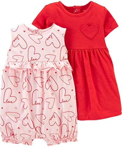 Carter s Baby Girls 2 Piece Dress Romper Set 18 Months Pink Red Heart product image