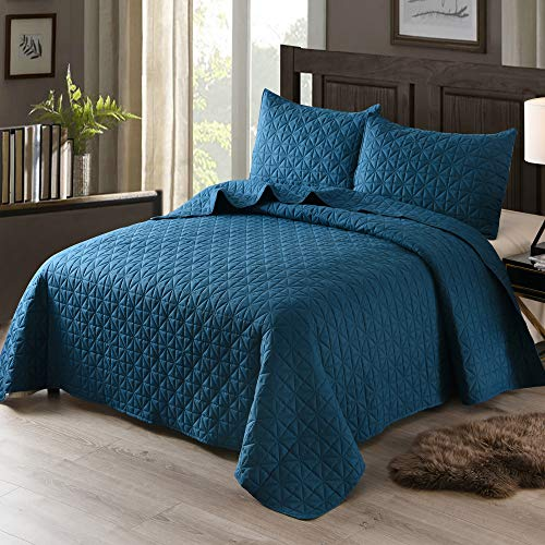 Exclusivo Mezcla 3-Piece Queen Size Quilt Set with Pillow Shams, as Bedspread/Coverlet/Bed Cover(Grid Blue) - Soft, Lightweight, Reversible and Hypoallergenic