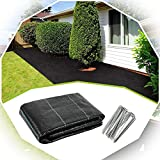 XUEXUE Weed Barrier Fabric, Weed Membrane Degradable Permeate Wate with 100 Securing Pegsr for Gardens, Lawns, Patios (Color : Black, Size : 2X5M)