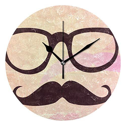 ALLdelete# Wall Clock Decoración del hogar Gafas y Barba Reloj de Pared Decorativo para Sala de Estar Decoración de Dormitorio Funciona con Pilas