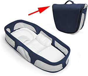 LFQWAV Portable Bed Crib  Multi-function Newborn Baby Nest Folding Travel Baby Cot Breathable Baby Sleeping Basket Bionic Baby Recliner With Pillow Bionic Cots Mummy Bag  Color Blue