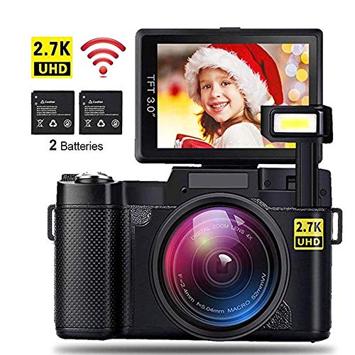 Cámaras Digitales WiFi, Full HD 1080P 24M 4X Zoom Cámara Digital compacta con Monitor LCD de 3,0 Pulgadas, Soporte de videocámara WiFi Gran Angular portátil de 180 ° Tarjeta de 32G TF