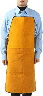 Welding Apron Anti-Flame Cowhide Long Coat Protective Clothing Apparel Suit Welder Durable Leather