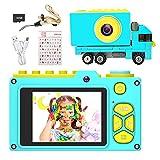 Ushining Appareil Photo pour Enfants, Mini Caméra Numérique Caméscope pour Filles Garçons de 3 à 12 Ans, Vidéo Caméra Enfant avec 2 Pouces Écran 32G TF Carte - Bleu