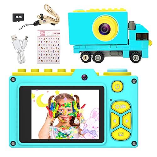 Ushining Cámara Digital para Niños, Selfie Video Camara para Niños con Pantalla de 2 Pulgadas, Camara Fotos Infantil con Tarjeta Micro SD de 32 GB, Regalos Juguete para 3 a 12 Años Niños y Niñas