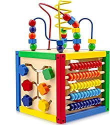 commercial Play22 Activity Cube with Pearl Labyrinth – 5-in-1 Children's Cube Includes Shape Sorter, Abacus … toy bead maze