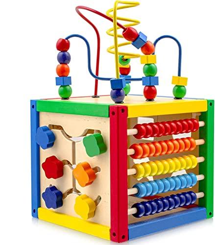 Play22 Laberinto Actividades Cubo con Perlas - Paga 5 a 1 Hijo Actividades Que Incluyen la Forma de Cubo, clasificador de Cuentas del ábaco, recuento
