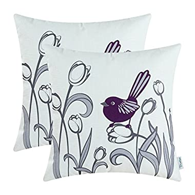 Pack of 2 CaliTime Soft Canvas Throw Pillow Covers Cases for Couch Sofa Home Decor, Hand Drawing Cute Bird with Sweet Tulip Print, 18 X 18 Inches, Deep Purple