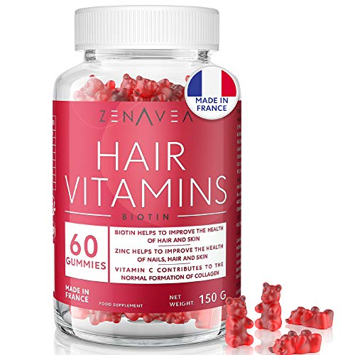 60 Gummies for Hair, Skin & Nails - 1 Month Treatment - Blueberry Flavour - Vegan - Made in France - Vitamin B12, Vitamin C, Vitamin E & Biotin Tablets for Hair - Hair Care Treatment, Hair Growth