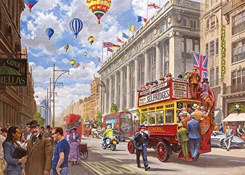 Yzqxiongtu Oxford Street - toen en nu legpuzzels 1000 stukjes, houten puzzelspeelgoed, volwassen decompressiepuzzel kinderen intellectuele krachttraining