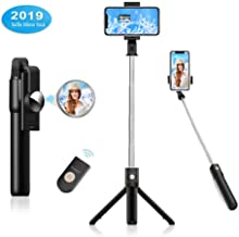Selfie Stick with Mirror, Extendable Phone Tripod with Bluetooth Wireless Remote Shutter, Universal Cell Phone Tripod Stand for iPhone, Galaxy, Android, Portable, Heavy Duty Stainless Pocket Tripod