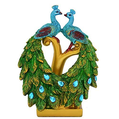 Bwinka Phoenix-Figur, Kunstharz, Grüne Pfauen-Gefieder-Skulptur, Glücksbringer für Heimdekor/Geschenk/Büro