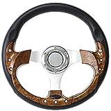 ForeverSharp 12.5 Inch Burlwood 6 Hole Golf Cart Steering Wheel with...