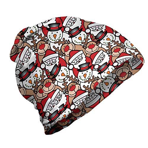 ABAKUHAUS Kerstmis- Unisex Muts, Snowman Reindeer Kids, voor Buiten Wandelen, Bleke Bruin Wit en rood