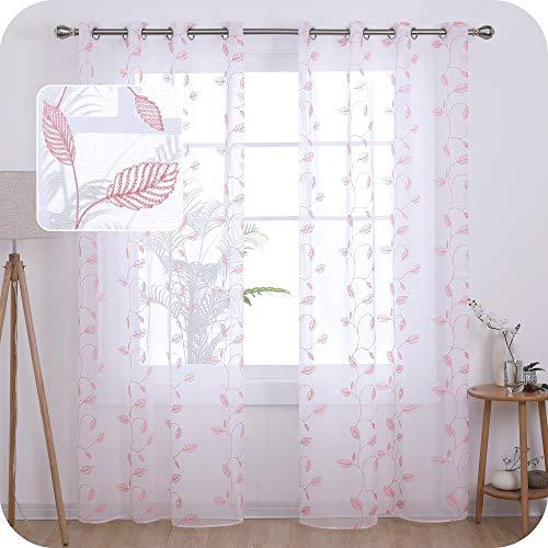 UMI. by Amazon Lot de 2 Rideaux Voilage Blanc 140x240cm Effet Lin a Oeillet avec Motif Broderie Rose Rideaux Salon