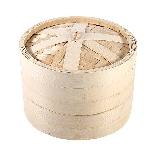 Mumusuki - Juego de 4 tamaños de 2 niveles, 2 niveles de bambú, Steamer Basket - Cocina natural con tapa nueva para hornear Dim Sum, brioches, albóndigas (22 cm)