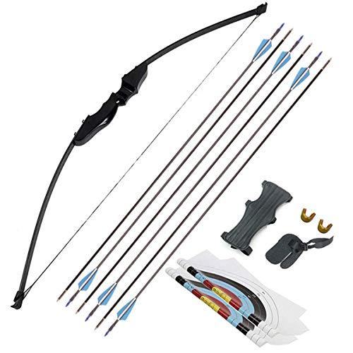 Miugwp Archi Ricurvi E Freccia Set, Tiro con L'Arco 30 Lbs con 6pcs Frecce in Fibra di Vetro per Giovani Adulti Principiant (30 lbs)