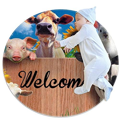 Alfombra Redonda, felpudos, Alfombra,Flor de ovejas de Conejo de Carne de Vaca Antideslizante para Dormitorio, Sala de Estar, habitación para niños o para Libros