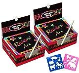 Global Tronics 200 Fogli di Disegni Scratch Art con 10 Stencil 2 Penne Blu, Set Creativo Fogli Arcobaleno Colorato da Scarabocchiare per Appunti Disegni Giochi (Base)