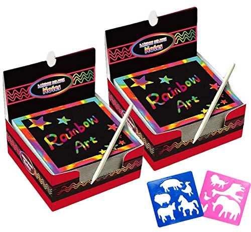 Scratch Art Paper 200 Hojas con 10 Plantillas Dibujos 2 Lápices Azules, Manualidades Rascar Rainbow Mini Bloc de Notas Mágico para Pascua Halloween Navidad Fiesta Cumpleaños Regalo (básico)