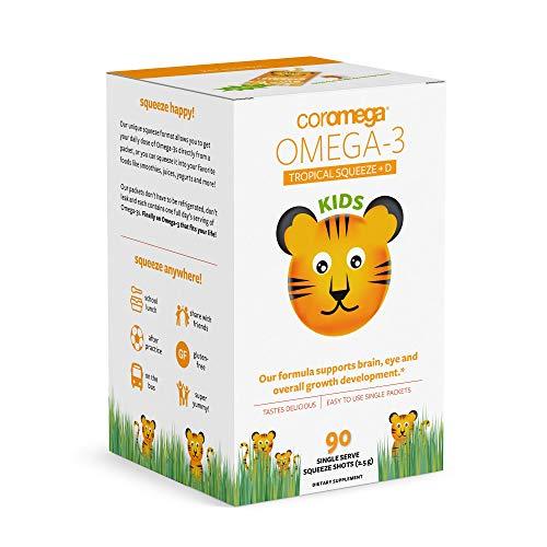 Coromega Kids Omega 3 Fish Oil Supplement, 650mg of Omega-3s, Tropical Orange + Vitamin D, 90 Single Serve Squeeze Packets