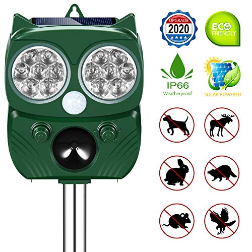 Ultrasonic Pest Repeller, Solar Powered Waterproof Outdoor Animal Repeller with Optional Audible Alarm, Motion Sensor and Flashing Light for Cats, Dogs, Squirrels, Moles, Rats