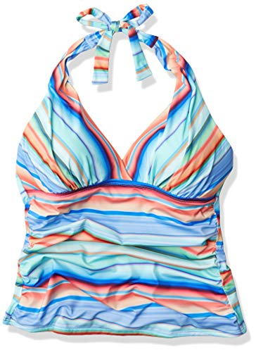 La Blanca Women's Plus Size V-Neck Halter Tankini Swimsuit Top, Multi//Sunset Stripe, 16W