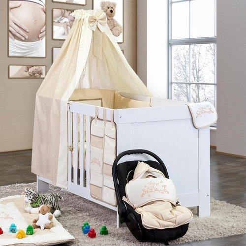 5-tlg. Babybettset Kleiner Prinz oder Kleine Prinzessin in Blau, Rosa oder Cream, Farbe:cream, Motiv:Kleine Prinzessin