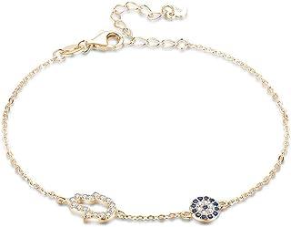 "Kaletine Hamsa Hand of Fatima Evil Eye Bracelet Sterling Silver 925 Blue Cubic Zirconia Chain Adjustable 6.5""+1.5"""