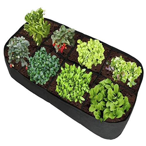 zwyjd Felt Raised Garden Bed 8 Holes Rectangle Breathable Planting Container Grow Bag Planter Pot for Plants Flowers Vegetables