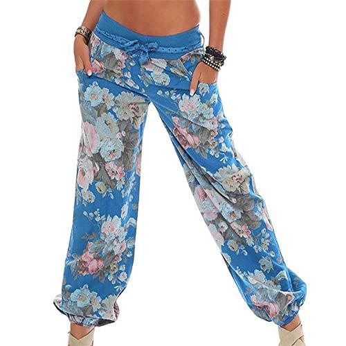 WOZOW Yoga Hosen Damen Übergröße Plus Size Boho Blumenmuster Floral Flowers Print Druck Hippie Loose Lose Lang Long Casual Low Waist Riemchen Haremshose Pumphose Trousers Stoffhose (XL,Blau)
