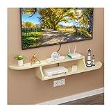 Estante flotante para pared de TV, gabinete de almacenamiento, caja de decoración para colgar en la pared para DVD, caja superior de TV, organizador de almacenamiento (color: blanco leche)
