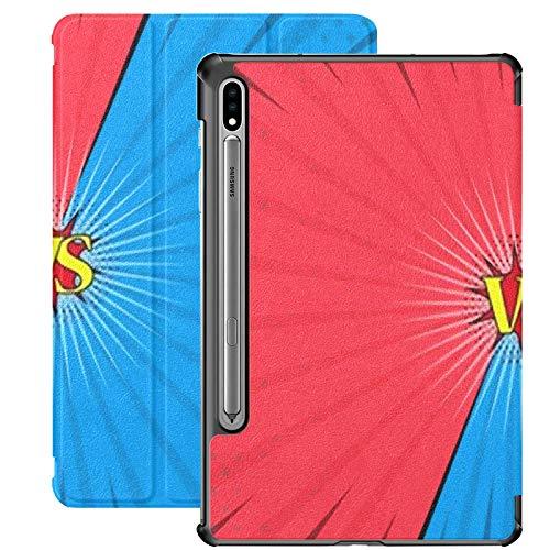 Funda Galaxy Tablet S7 Plus de 12,4 Pulgadas 2020 con Soporte para bolígrafo S, cómic Versus Fondo Superhero Action Funda Protectora con Soporte Delgado para Samsung