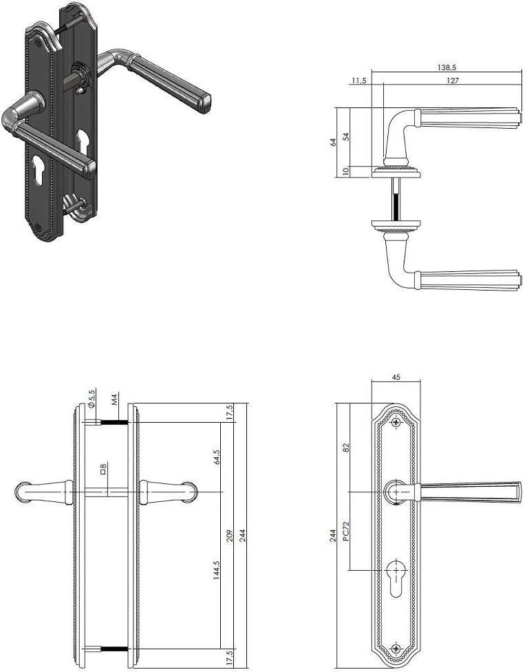 Buntbart Langschildgarnitur T/ürdr/ücker Modell Bremen Chrom gl/änzend T/ürbeschlag Zamak Vintage Landhausstil Klassik T/ürklinke