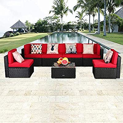 Anbuy Patio Furniture Set Conversation Sectional - 7 Pieces Outdoor All-Weather Wicker Rattan Seating Sofa with Tea Table &Washable Couch Cushions Brown Rattan Garden Furniture Sets (Red)