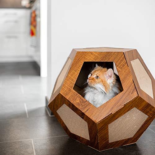 CanadianCat Company ® | Hexa-Box | Höhle mit Kratzfläche | Kratzliege | Kratzmöbel | Kratzbrett | Katzen | Kratzkarton
