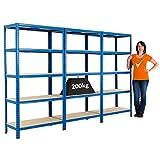 Certeo Mega Deal | Set di 3 scaffali per carichi pesanti (profondità: 45 cm) | 200 kg per ripiano
