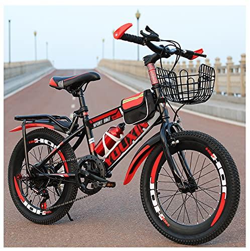 Bicicletas para estudiantes y niños, adecuadas para niños y niñas de 6 a 17 años 18/20/22 pulgadas de una sola velocidad, bicicleta roja -22 pulgadas