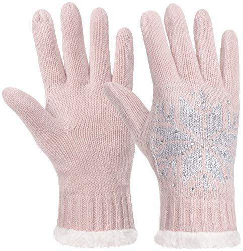 Faera Handschuhe Damen gefütterte Wollhandschuhe Strickhandschuhe Winterhandschuhe Silber mit Strass für Herbst Winter Onesize, Farbe:Rosa