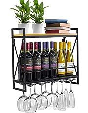 Wijnrek Smeedijzeren Wijnrek Aan De Muur, Metaal, Hangende Wijnglashouder, Wijnrek Met Glazen Houder, Houten Plank