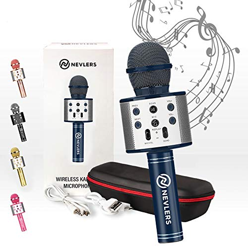 Nevlers Karaoke Microphone with Wireless Bluetooth Speaker and Recording Options, Easy to Use Portable Handheld Karaoke Machine for Kids and Adults - Navy Blue