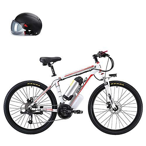 Pc-Glq Bicicleta Electrica 500W Motor De 48V Li-Battery Bicicleta Eléctrica Inteligente MTB De 26 Pulgadas, Material De Acero con Alto Contenido De Carbono, Montaña, Plegable,Blanco,8AH